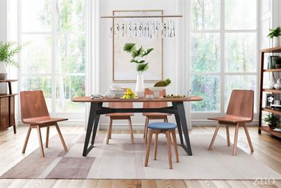 A retro modern curved top floats on an industrial steel base for a stunning combination. Cross bar construction and flaired legs provide extra stability and architectural interest. It will be a focal point in any dining room.