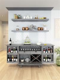 Pattern play. The striking chevron pattern makes this bar cabinet a standout placed in your kitchen or living room. Ample room for storing bottles and glassware with handy drawers for bar tools and coasters. Its flip top surface allows for extra room while serving and the finished back offers you the flexibility to float it in your space.