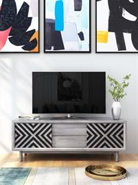 Pattern play. The striking chevron pattern makes this media cabinet a standout in your living room. Its two drawers provide ample space for remotes or your dvd colleciton, while its sliding doors give you additional storage flexibility. Adjustable shelving will also flex to your needs. The cut out back allows for organized cord management.