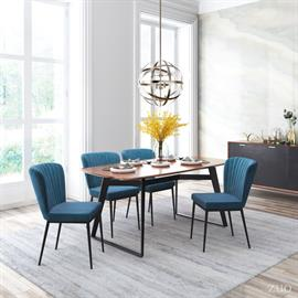 A flared back and channeled tufting gives this armless dining chair an art deco vibe. Pull it up to your table to create a swanky setting. Slim steel legs give it simple style and stability.