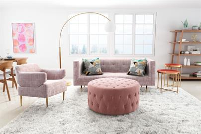 Swoon worthy. This ultra chic lounge chair is wrapped in luxurious pink velvet for a feminine flare. The beautiful two-piece construction with its turned up arms, seems to float on its glamorous gold legs. Perfect for an uptown apartment or a downtown retreat.