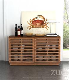 Scandinavian in design the Linea series features narrow slim strips of Solid Fir Wood, creating a Modern open airy design finished in a rich walnut finish. Credenza features a two front opening doors, 2 interior drawers with two adjustable shelves and holes for tv components accessibility.