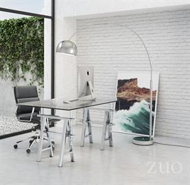 Architectural mastery shines as the Lado desk features an stainless steel finish to saw-horse style adjustable base, supporting a tempered glass top. Perfect home or office for an elegant and masculine feel.