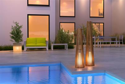 Illuminate your world with the Cosima Outdoor Floor lamps in two sizes feature a Modern silhouette design as the Slim Teak pieces elegantly encase a fiberglass diffused outdoor light, creating the perfect ambiance to any outdoor setting. Floor Lamp is plug in only. UL Listed and approved.