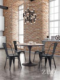 Classically Modern Scott's Bluff Dining offers a Tulip shaped design accented with rustic wood and antique finish. Paired with the Alton Ceiling Lamp 3-Tier design and  antique black finish will make any room a distinctive design statement.