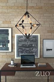 Studio Desk and Union Ceiling Lamp offer bold geometric aesthetics with a warm rich espresso tone for the desk and a distinctive  vintage Edison styled ceiling lamp.