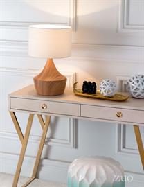 Inspired by nature. This retro modern table lamp with its angular form is softened by a faux wood grain finish. Its lovely off-white shade adds simple elegnce. Place it on an accent table or a pair on your bedside tables.