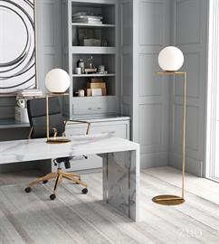 Add flair to your home office with ZUO's Belair Collection. Modern round globe balances on a simple linear plane to create this luminous floor lamp. Its minimalist silhouette perfectly compliments the most modern spaces and will add simplicity to a more eclectic mix. Evenly distributes light to fill any room with a perfect glow. Place it in an empty corner or next to your favorite chair.