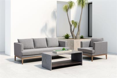 This handsome, mid-century inspired sofa will bring a modern vibe your outdoor space. Tailored for style and endurance and built to weather the elements. Its aluminum rail base makes it sturdy, while the plush gray cushions are structured with comfort in mind. We love how it creates a beautiful transition from your indoor space.
