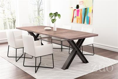 The Haight Ashbury table's intricate elm table top design and antiqued trestle base create a statement piece for any dining room. Shown with Axel Dining Chairs.