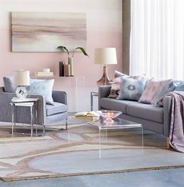 Ethereal | Tranquil | Serene – Colored glass and kaleidoscopic patterns enhance a calming, dreamy space. Evoking a sense of balance and mindfulness, soothing grays, purples and pinks lend clarity to a surreal, contemporary interior.