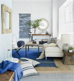 Artisanal | Soulful | Relaxed – Global motifs and natural textures in deep blues and earthen hues connect with nature to create a relaxed and casual space for the free spirited.