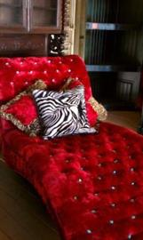 Jackie O Chaise Lounge in Red Velvet