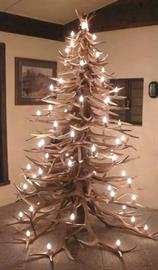 Elk Horn Christmas Tree with Lights