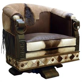 Horse Shoe Chair in Kudu with Swivel