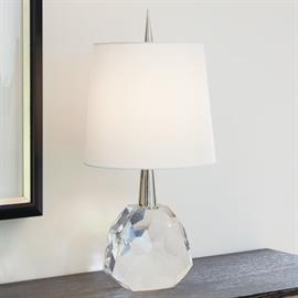 Spike your décor with this jewel of a lamp. Our Gem Lamp is quite striking with its clear crystal faceted base and polished nickel spike that leads up to a stark white silk shade.