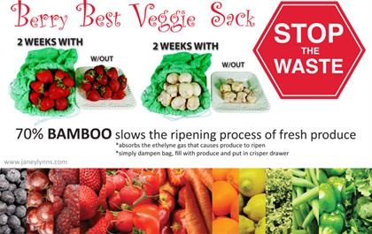 "Normally, vegetables and fruits start to go bad or spoil in the refrigerator or crisper after only a day or two. But now you can keep your veggies & fruits fresher, longer in this new anti-bacterial Berry Best Veggie Sack™. It works with almost ANY fruit or vegetable. •20"" x 20"" •Made out of Bamboo •Naturally Antibacterial •Keeps Veggies and Fruits Fresher Longer"