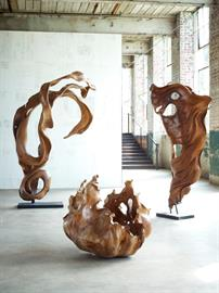 Hand carved wooden sculptures as art for a distinctive interior