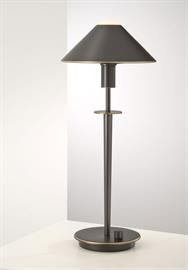 Lighting for the Aging Eye: No. 6504. This modern table lamp adds style and versatility to virtually any decor. Equipped with a full-range, turn-knob dimmer and a 100 Watt Halogen bulb by Osram. Pair it with the matching wall sconce 9416, floor lamp 6505, or swing-arm floor lamp 9424.