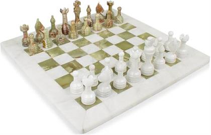 Chess Set carved out of White Marble and Green Onyx