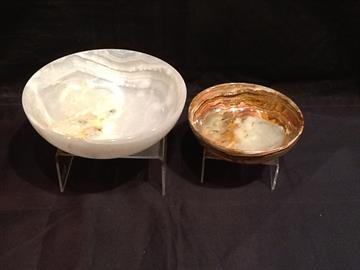 "White and Green Onyx Bowls  (sizes available 3"", 4"", 5"", 6"", 8"", 10"" & 12"")"