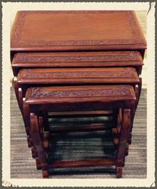 Solid Rosewood Nesting Tables with hand carving border on top of each table. (set of 4 tables)