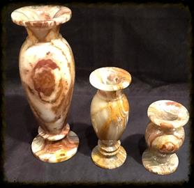 "Vases Carved out of Onyx Stone. Plenty of Sizes from 6"" to 24"" available in Stock and Larger than 24"" can be made to specifications."
