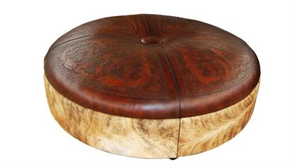 hand tooled leather and hide ottoman