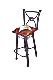 Iron and leather barstool hand tooled with back with swivel