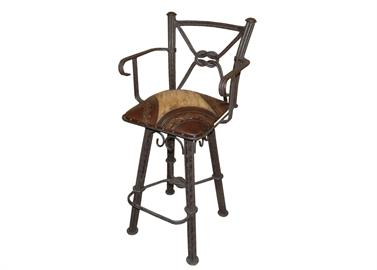 leather and iron barstool