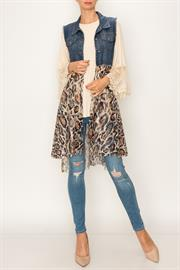 DENIM VEST WITH PRINTED LACE LAYER