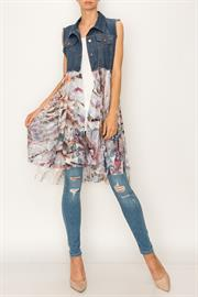 DENIM VEST WITH WAVE PRINTED LACE