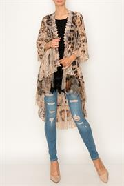 ALL LACE PRINTED CARDIGAN WITH SLEEVES