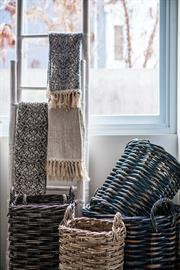 Beyond Borders Home Decor Collection - Handprinted Table Runners: Drifting Damask French Blue and Drifting Damask Indigo, Planter Basket Set of 2, Umbrella Basket Set of 2