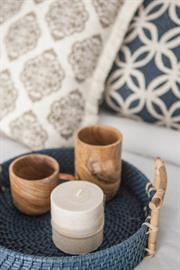 Beyond Borders Home Decor Collection - Handprinted Pillows, Seoul Tray, Wooden Mug, and Wooden Cup
