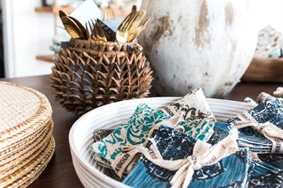 Beyond Borders Handprinted Textiles - Handprinted Coasters with the Durian Basket