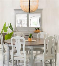Lakehouse Dining Table, Ella Dining Chairs, Iron Drop Chandelier, Lakehouse Mirror