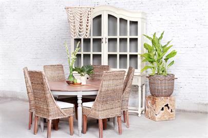 Lakehouse Dining Table, Chloe Dining Chairs, Camelia Cupboard