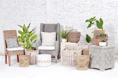 Chloe Dining Chair, King Coastal Chair, Rattan Storage Cube, assorted Beyond Borders' baskets