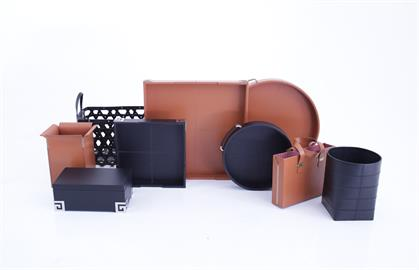 Supple hides, detail stitching, engraving and custom metal feet are some of the specialty details brought to the leather accessories. Superior construction assures years of beauty and enjoyment to any room of your home or office.