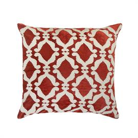 These hand guided boucle yarn embroidered pillows in rich color tones and symmetrical aesthetics, will evoke subtle glamour to your interiors.