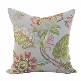 The oldest form of embroidery - cross stitch, brings out the fauna in our vintage garden pillow which will blossom any living space.
