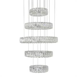 "New LED Technology meets stunning modern chandelier. Five tiered diamond cut clear crystal rings with chrome metal details. Cable length 120"", dimmable, 120v, 104w, 9200lumens, 4000k, 5 year warranty & 50,000 hrs life."