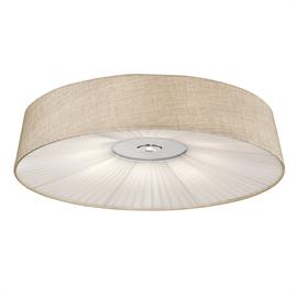 Contemporary LED Flush Mount with modern simplicity. Grey (or Beige) linen shade with pleaded bottoms. single down light with 40w up and 7 3 single down light. 3000 lumens, 3000K, dimmable,, 5 year warranty, 50,000 hrs. life.