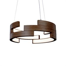 LED Technology meets contemporary circular pendants with inner illumination. Available in 4 finishes: white, brushed nickel, white & walnut. 57w, 4500 lumens, 3000K, 5 year warranty, dimmable and 50,000 hours life.
