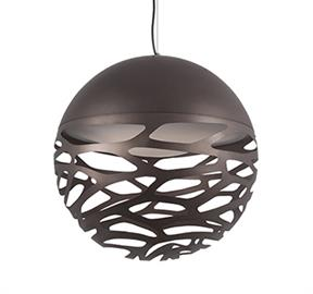 Laser cut organic shaped openings that illuminate unique light effect and shadows. Available in 3 sizes and two finishes.
