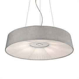 Sophisticated Modern Fabric pendant. Grey linen shade with pleated bottom and single down light and uplight. 120v, 40w & 7w, 3000lumens & 600lumens, 3000K, dimmable, 5 year warranty, 50,000 hrs. life.