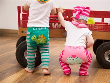 Adorable line of baby leggings, bibs, hats, onesies and pillows & blankets. Sizes 6-24 months with cute animals and objects.
