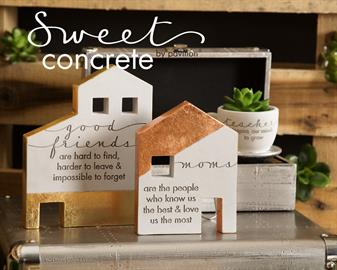 Concrete gold, copper and silver sentimentalized keepsakes, candle holders, plaques and more.