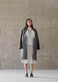 The Vincente Coat - TA1018 | The Raya Sweater - TM1408 | The Risa Skirt - SM5012